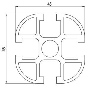 disegno tecnico profilo strutturale modulare in carbonio 45x45 CarboSix