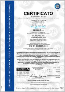 Certificato UNI EN ISO 9001 Sistema qualità Alusic CarboSix