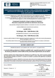 Certificato di conformità EN 1090 componenti strutturali Alusic CarboSix