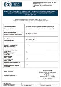 Certificato di conformità EN 1090 Alusic CarboSix